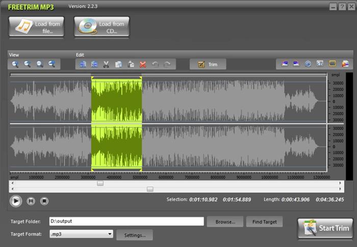 edit audio files with freetrim mp3