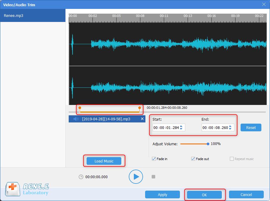 mix music in renee audio software