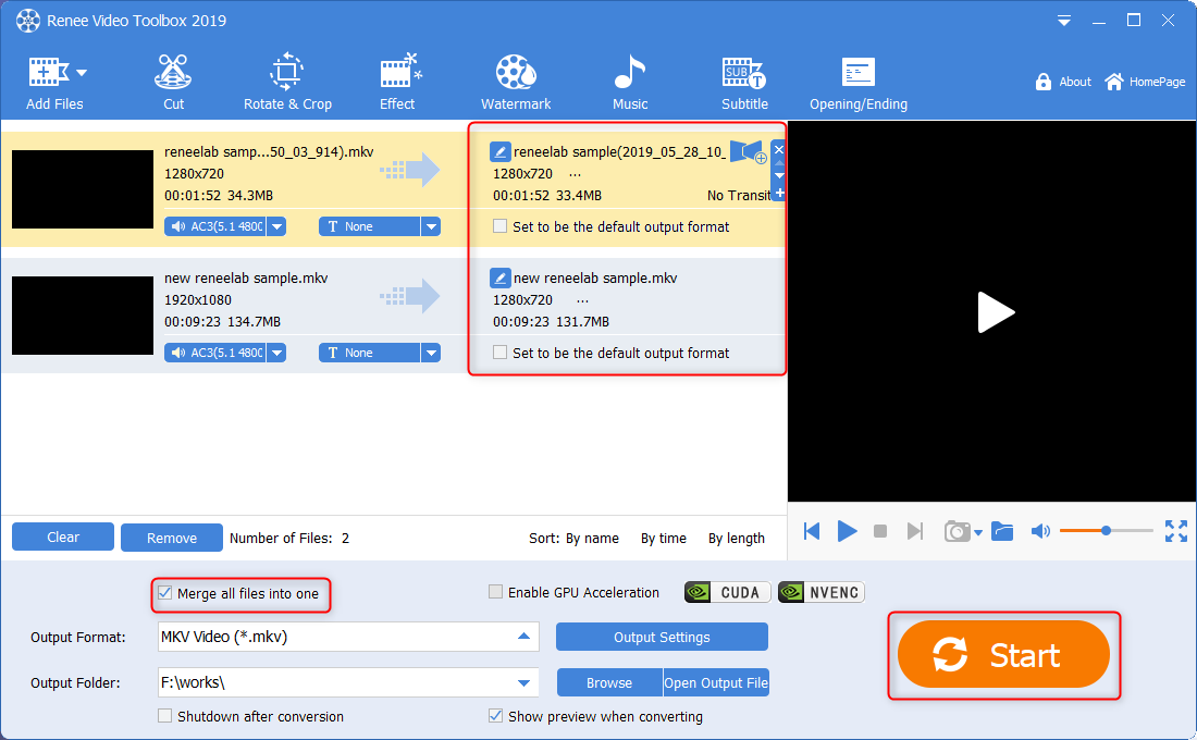 renee video toolbox merge mkv videos in same size