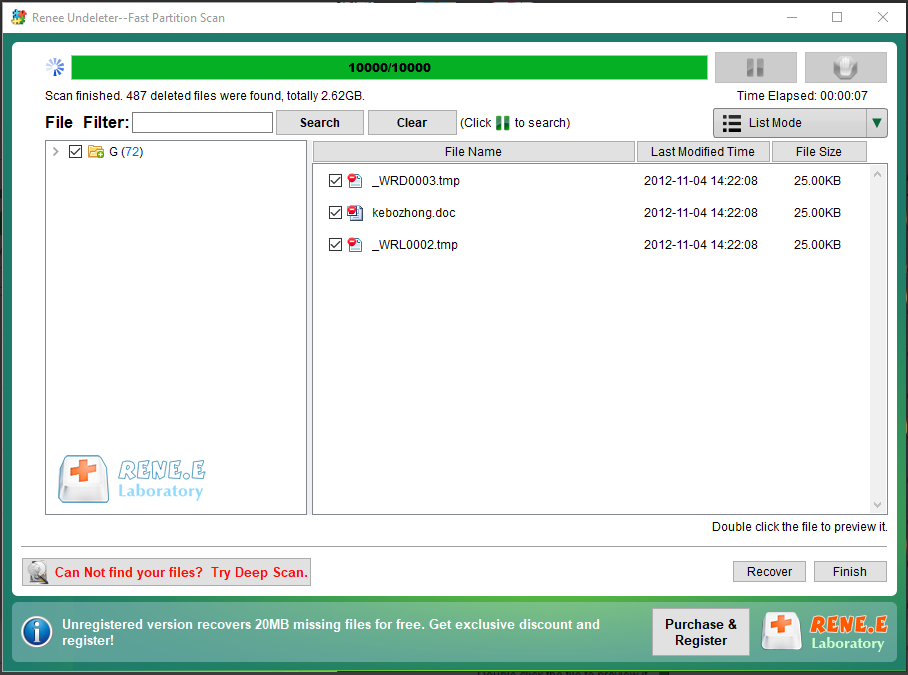 select the target files to recover in fast partition scan
