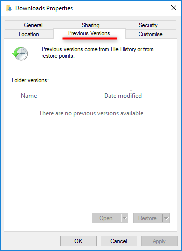 restore the files to the previous version in windows