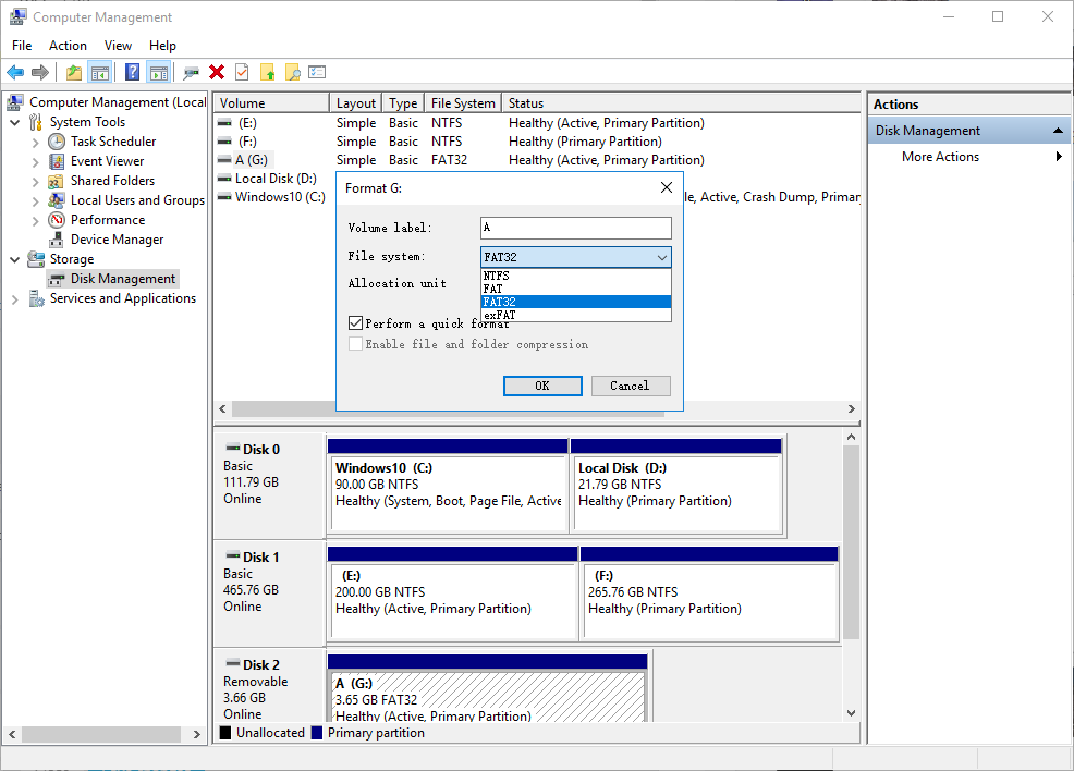 select file system in sd card formatting