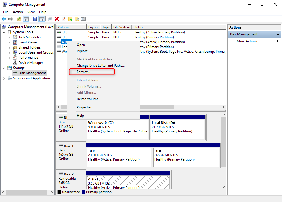 right click to select format sd card in disk management