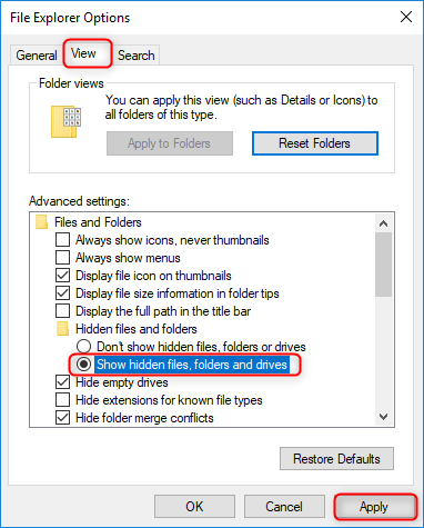 check hidden files in file explorer options