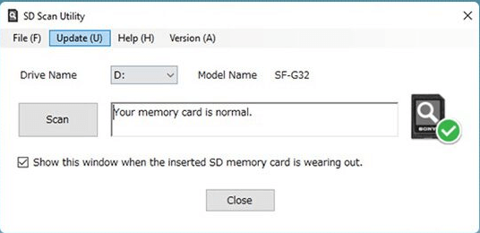 SD card is normal in SD scan utility