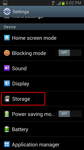 touch storage on android phone settings