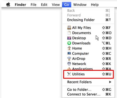 go to utilities on mac