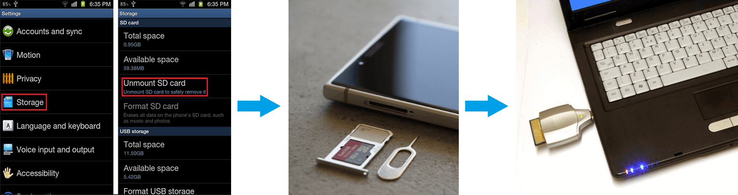 unmount sd card on android phone and connect it to pc
