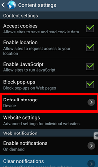 go to default storage in samsung content settings