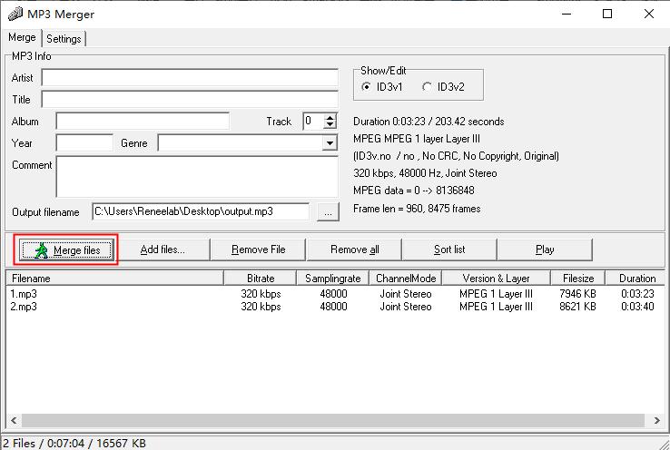 merge audio files in mp3 merger