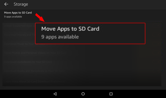 check how many kindle fire apps can be moved to sd card