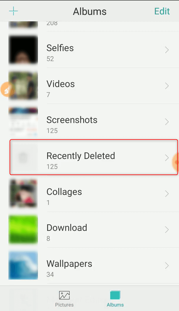 tap to run recovery of deleted photos in android