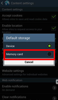 select sd card as the dedault storage location in samsung