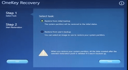 click on restore from initial backup under onekey recovery