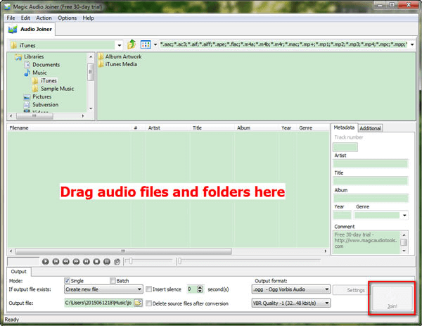 drag audio files to mp3 joiner