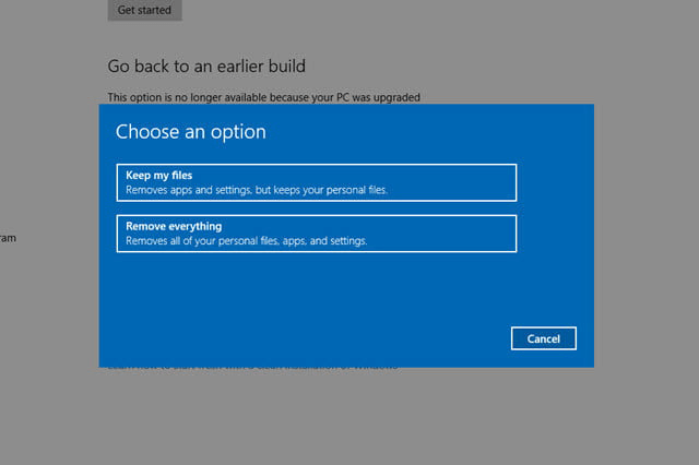 select remove everything in windows 10