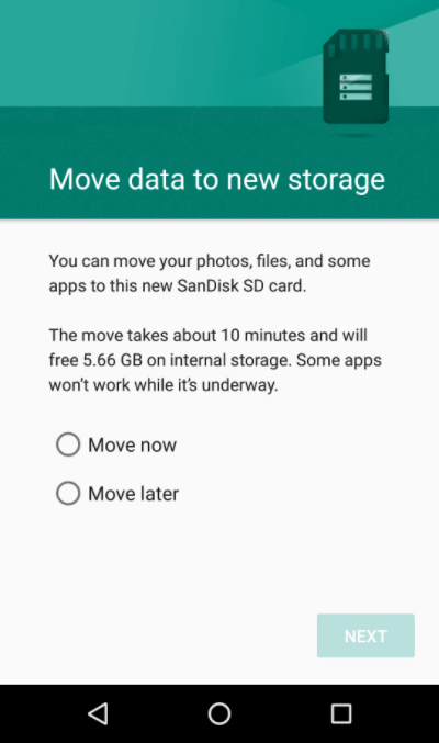 tap to move data now in a smartphone