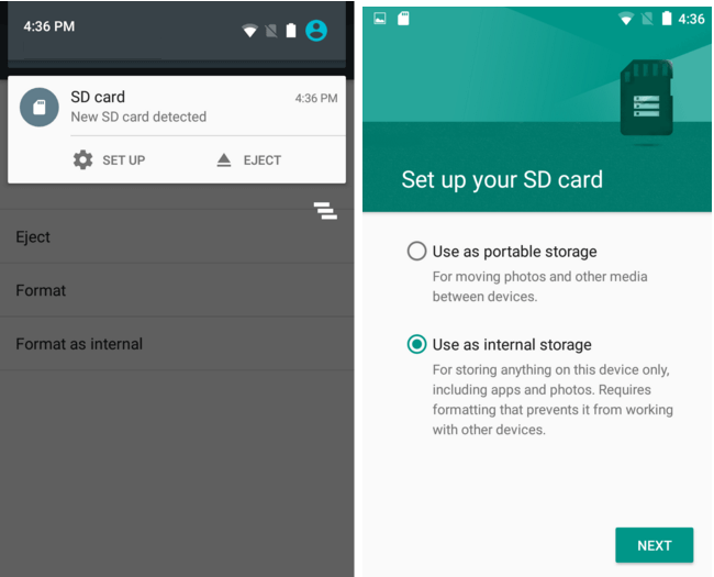 how to use sd card as default internal memory