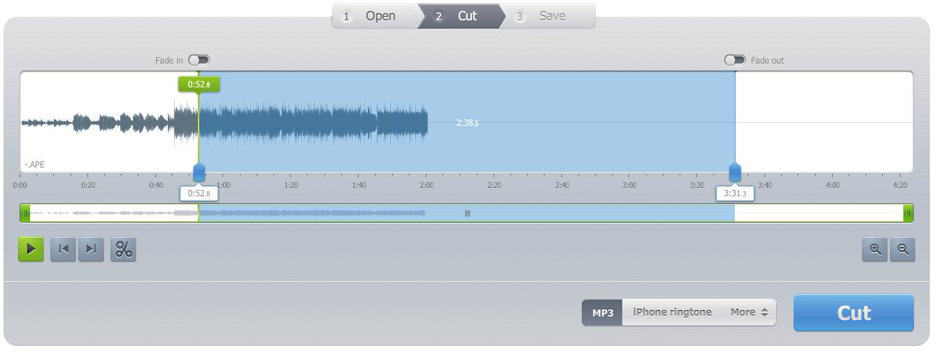 audio mp3 cutter pro is an online music cutter