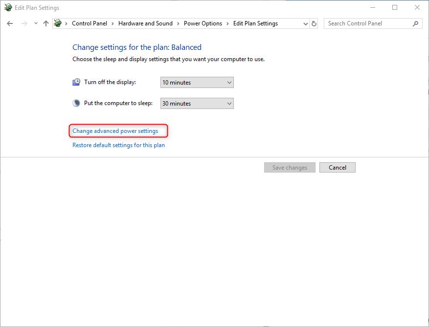 how to change advanced power settings on windows