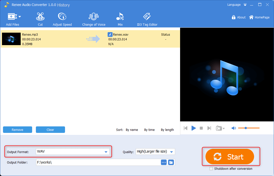 how to convert mp3 to wav in renee audio converter