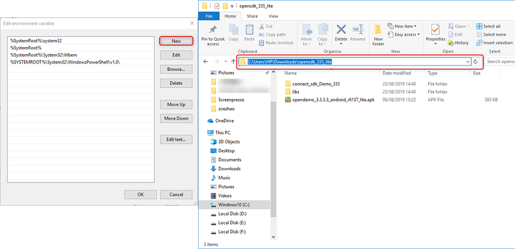 copy sdk address in order to use adb to control android devices