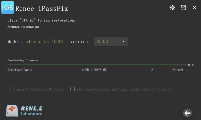 download ios firmware from renee ipassfix