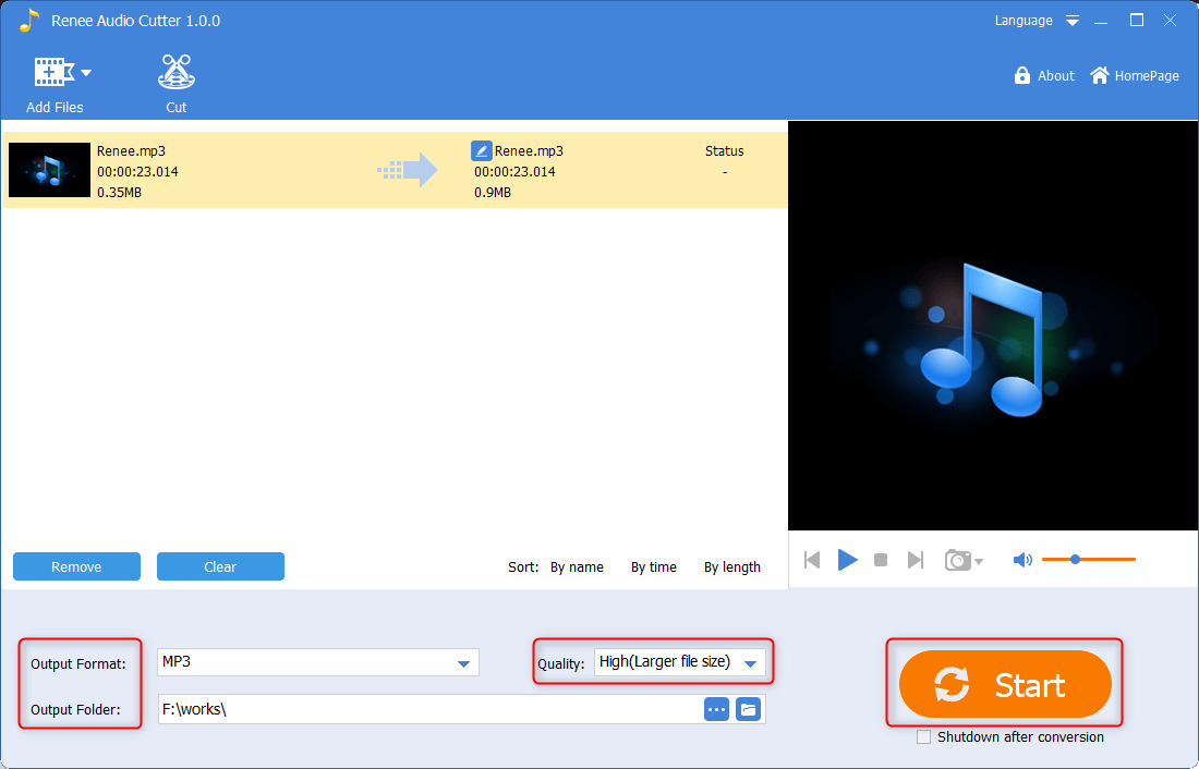 save and output the audio file in renee audio cutter