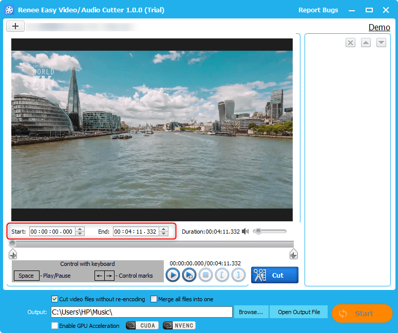 manually set start and end time to cut video in renee video editor
