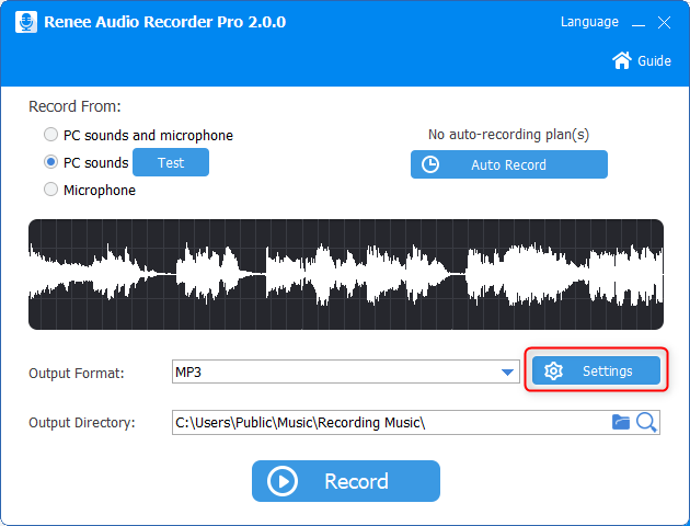 click to set recording settings in renee audio recorder pro