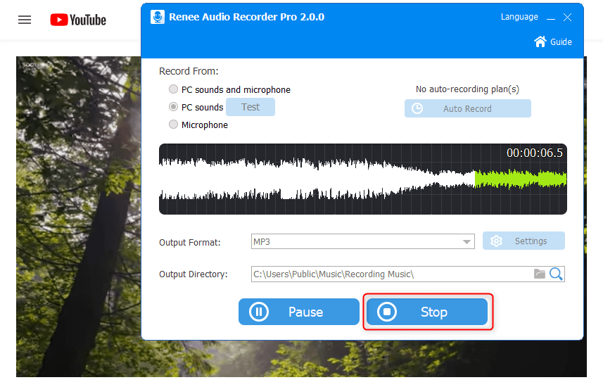 stop recording youtube sounds in renee audio recorder pro
