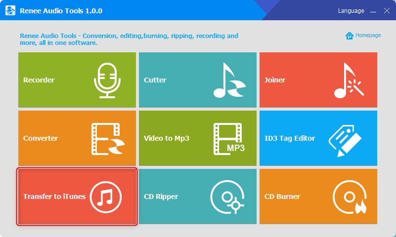 use renee audio tools to transfer songs to itunes