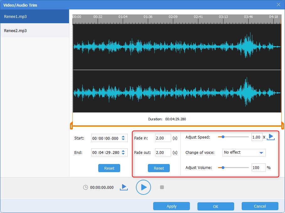 set some effects to audios in renee audio tools