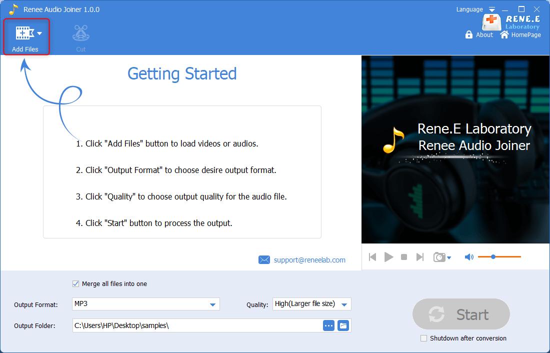 select the target audio files to combine in renee audio joiner