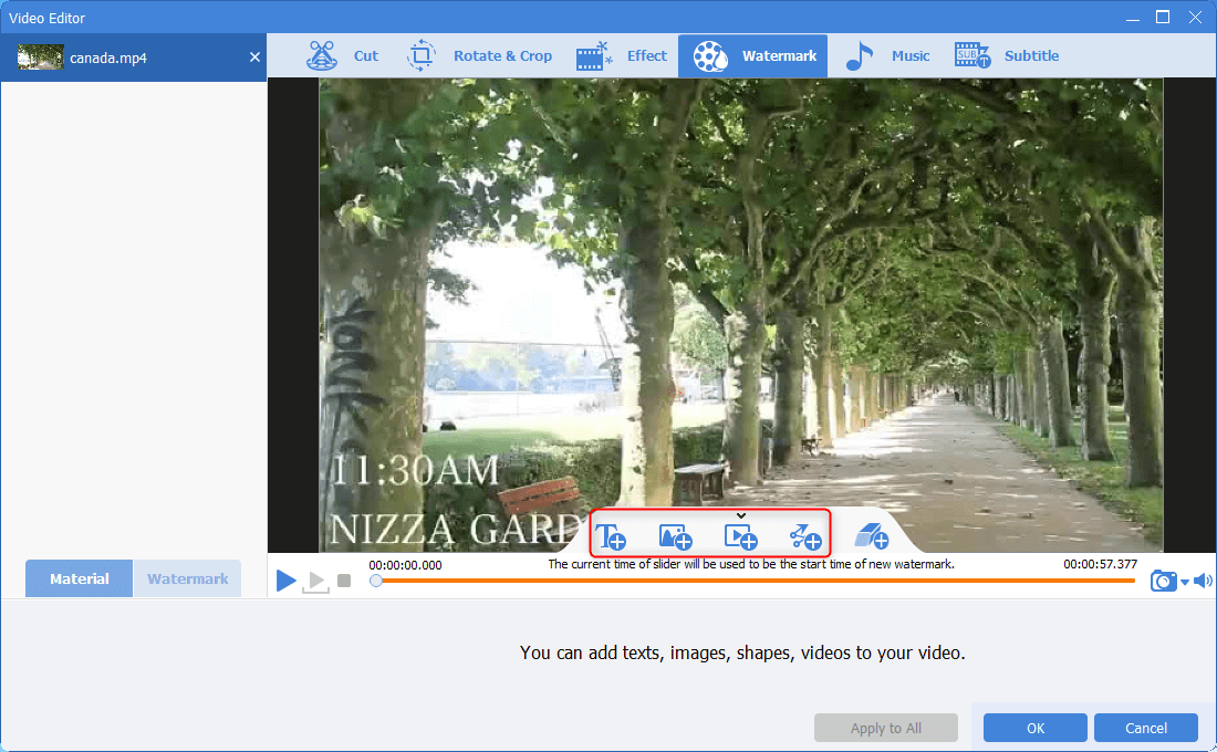 add text sharp video watermarks on videos