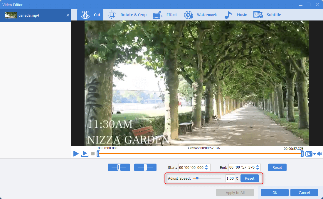 adjust playback speed in renee video editor pro