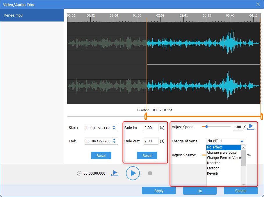 use renee audio converter to add audio effects