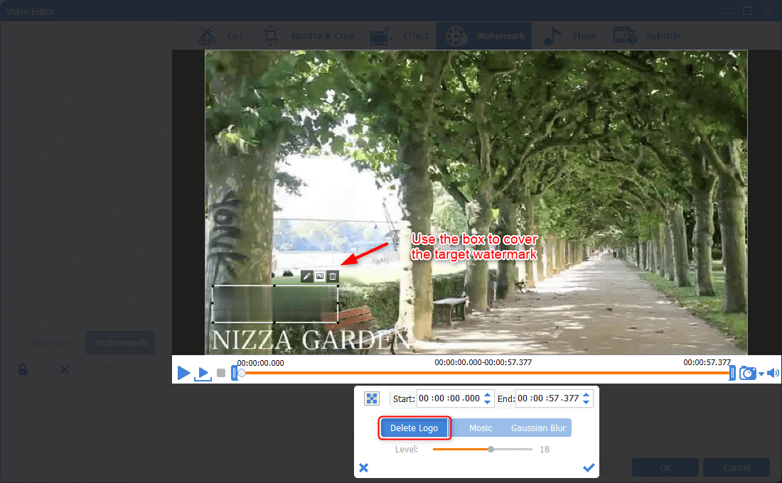 remove video watermark in renee video editor pro