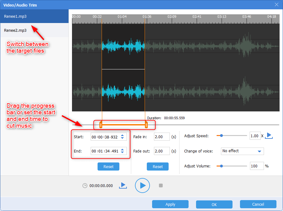 trim or cut a part out of a song in renee audio tools