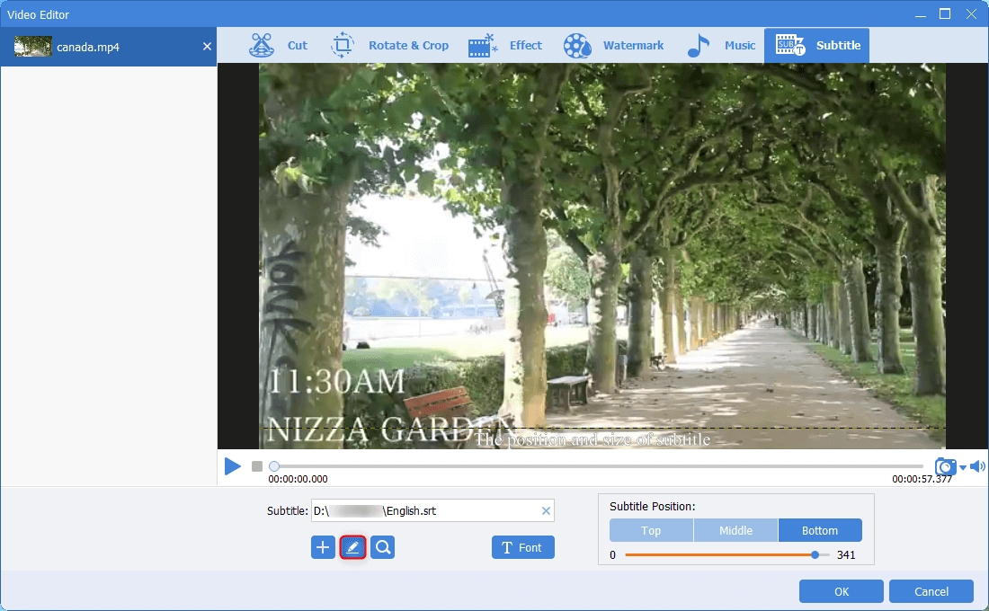 click the edit button to edit subtiles for video