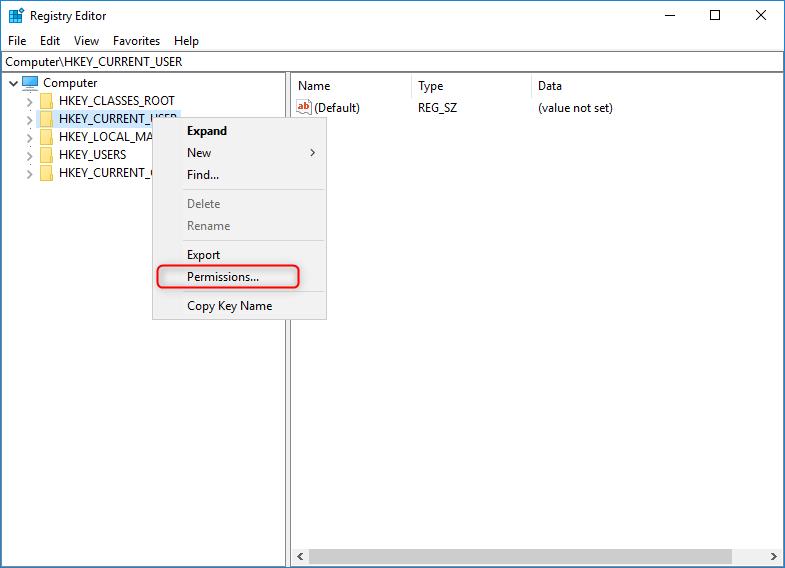 open user permissions in windows