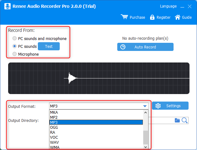 select output formats and output folder in renee audio recorder pro