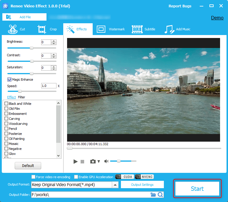 click start to save the improved video in renee video editor