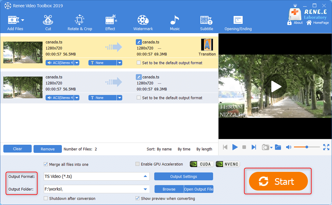 join and edit all ts files into one and output them in renee video editor pro