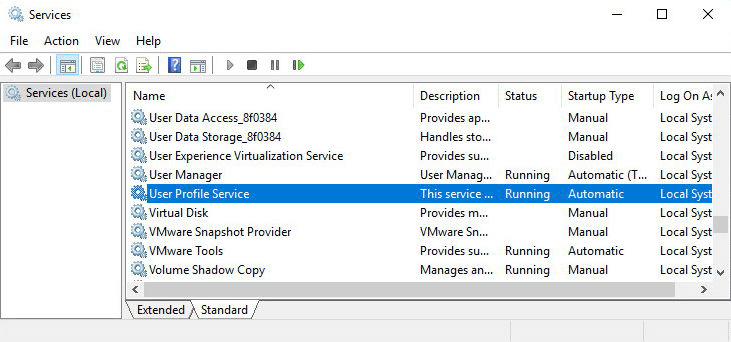Windows user profile services failed the logon