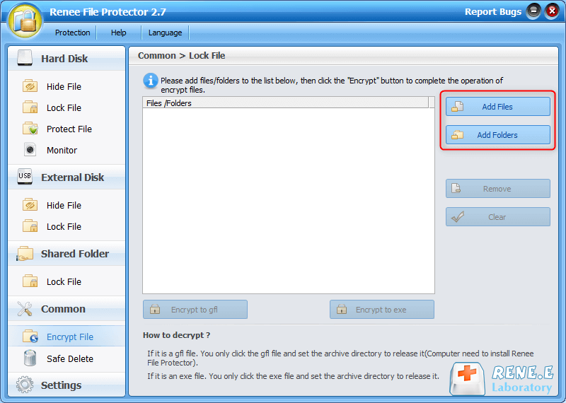 add files or folders to encrypt in renee file protector