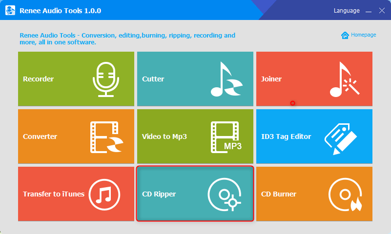 click cd ripper in renee audio tools