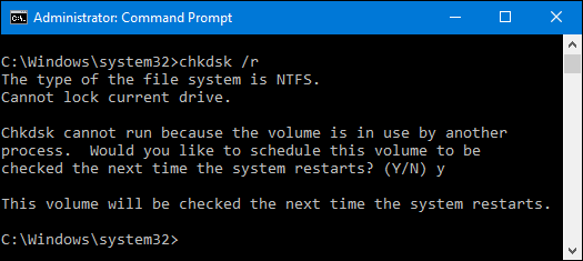 press enter to run chkdsk r to fix errors