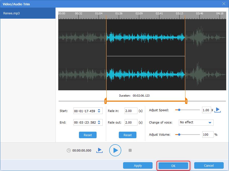 confirm the cut audio in renee trim