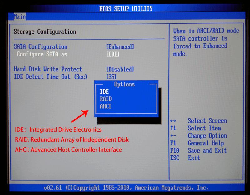 three modes of sata controller